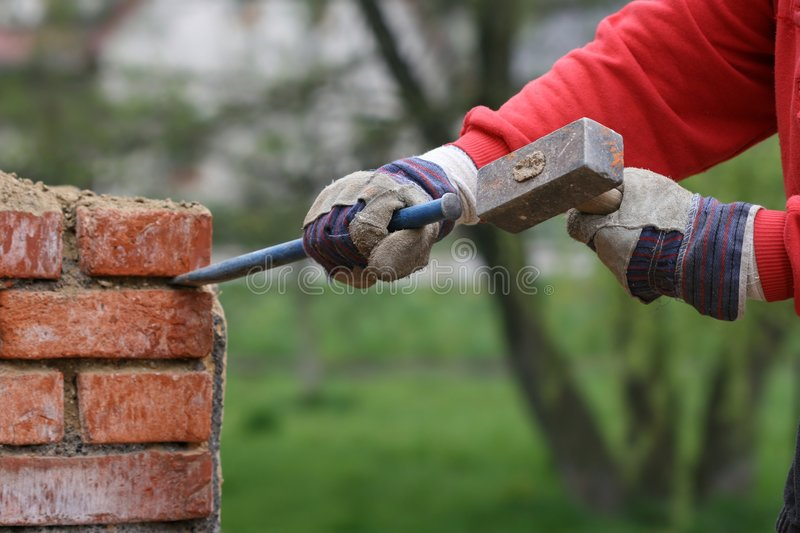 Wall demolition royalty free stock images