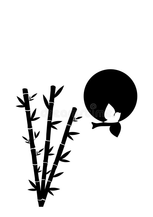 Flying Bird Silhouette with bamboo three Illustration, Wall Decals isolated on white background vector illustration
