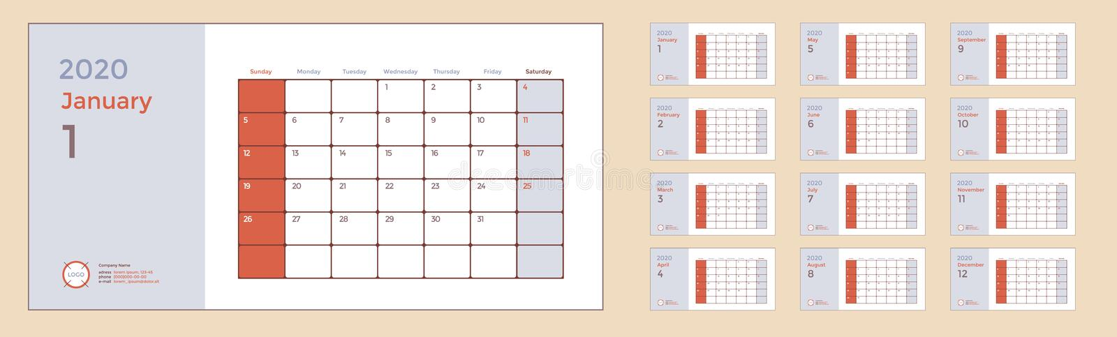 Wall or Desk Monthly Calendar for Year 2020. Vector Design Template with Space for Notes and Corporate elements. Business planner vector illustration