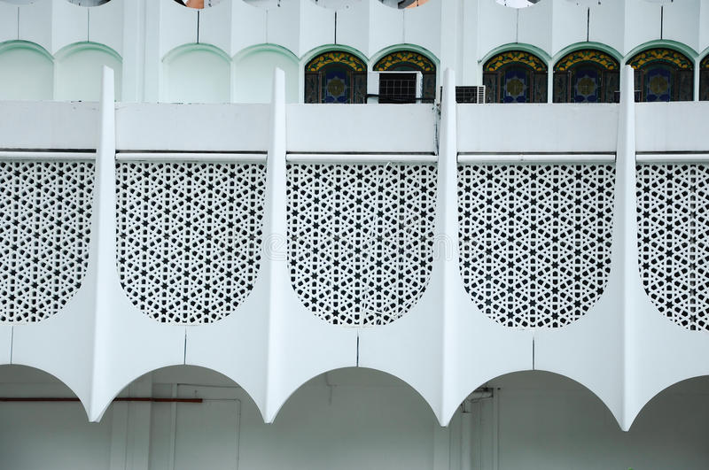 Wall detail at Perak State Mosque in Ipoh, Perak, Malaysia. PERAK, MALAYSIA – DECEMBER 2014: Perak State Mosque in Ipoh Perak on December 13, 2014. It is royalty free stock images