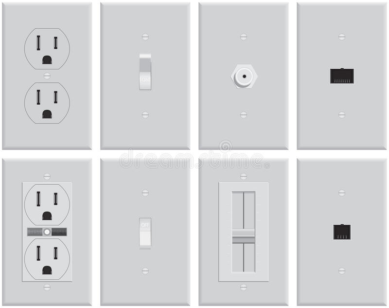 Wall Electrical Plates royalty free illustration
