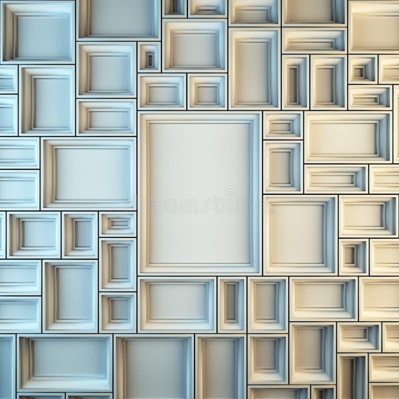 Wall Of Empty White Frames. Stock Illustration - Illustration of ...