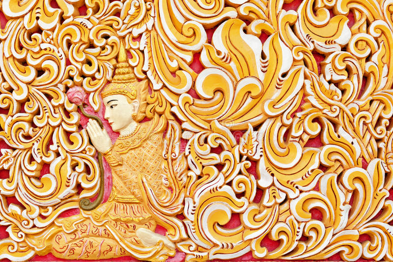 Wall exterior detail of ancient Burmese buddhist temple in Georgetown stock image