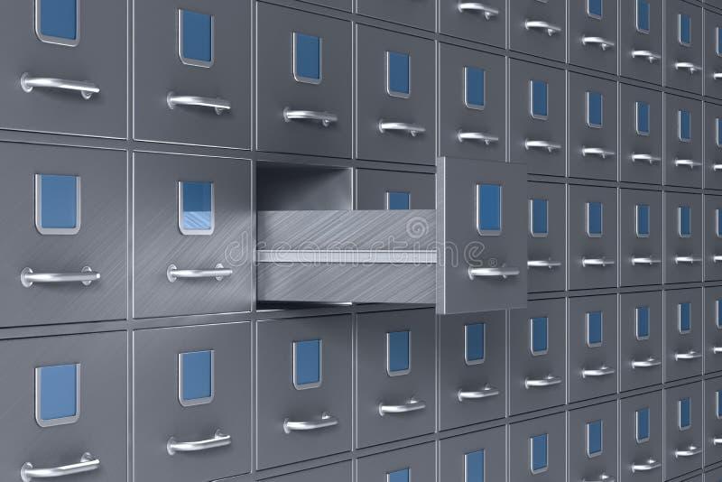 Wall from filing cabinet. 3D illustration stock illustration