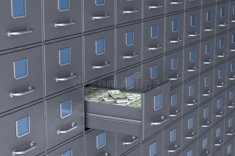Wall from filing cabinet. Open box with money. 3D illustration royalty free illustration