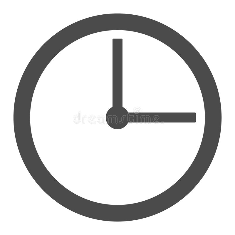Wall Flat clock with grey arrows style vector icon. wall clock outline vector eps10 on white background stock illustration