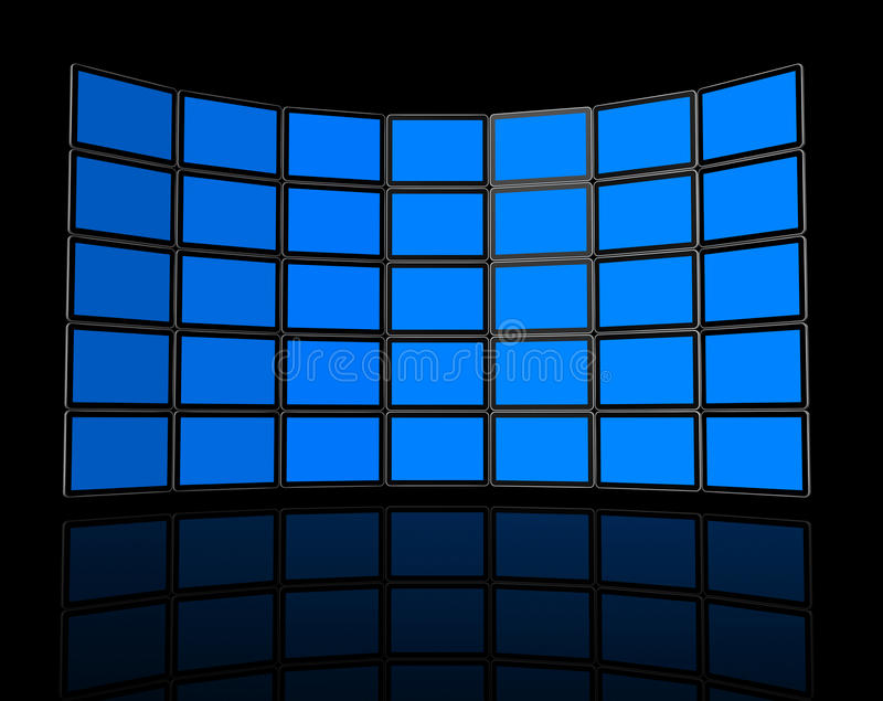 Wall of flat tv screens royalty free illustration