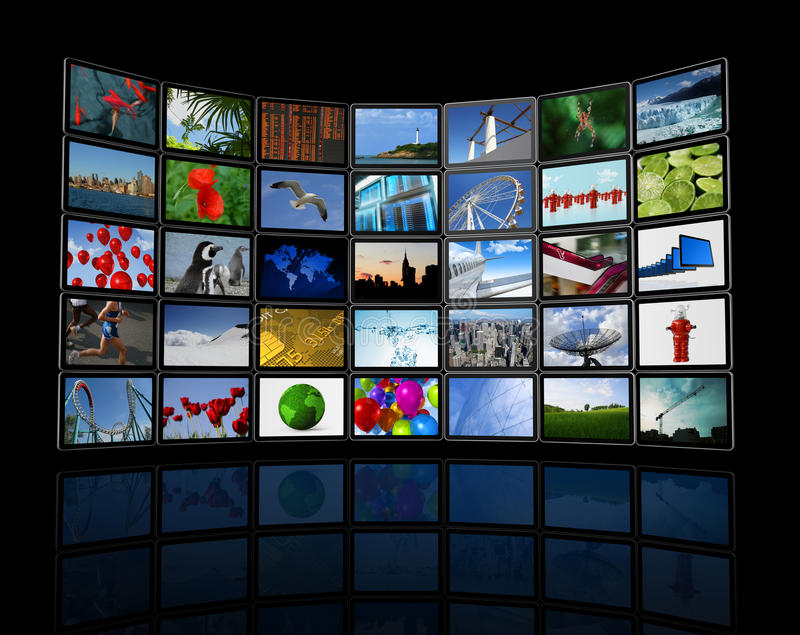 Wall of flat tv screens stock illustration