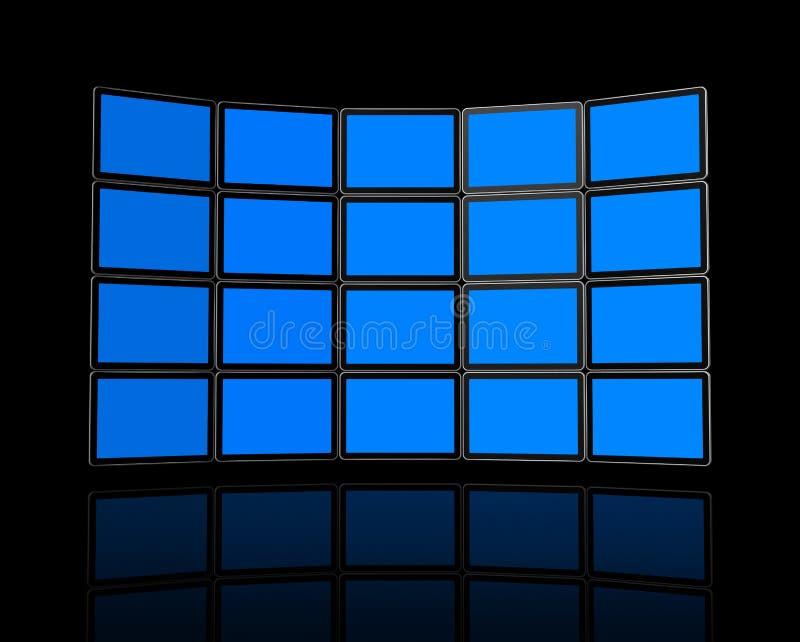 Wall of flat tv screens vector illustration