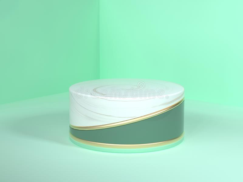 Circle podium wall floor corner green pastel scene 3d rendering abstract gold white marble blank podium circle white gold green stock illustration