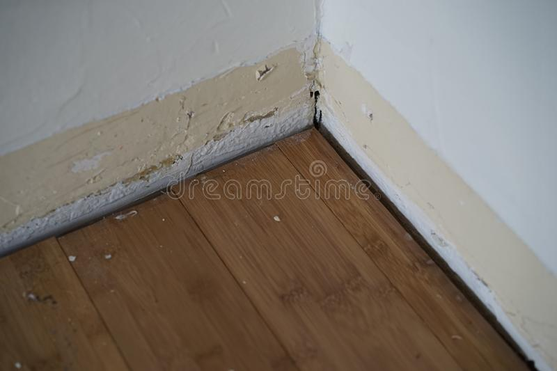 Wall and floor with no trim attached to wall stock image