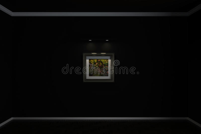 Wall flooring and plinths on the wall hangs a picture which shows a drop of dew. 3d illustration royalty free illustration
