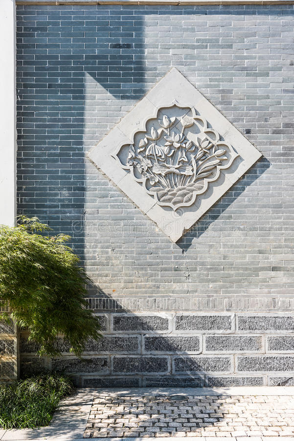 Wall flowers. This photo was taken in laomendong scenic spot, Nanjing city, Jiangsu province, china royalty free stock photo