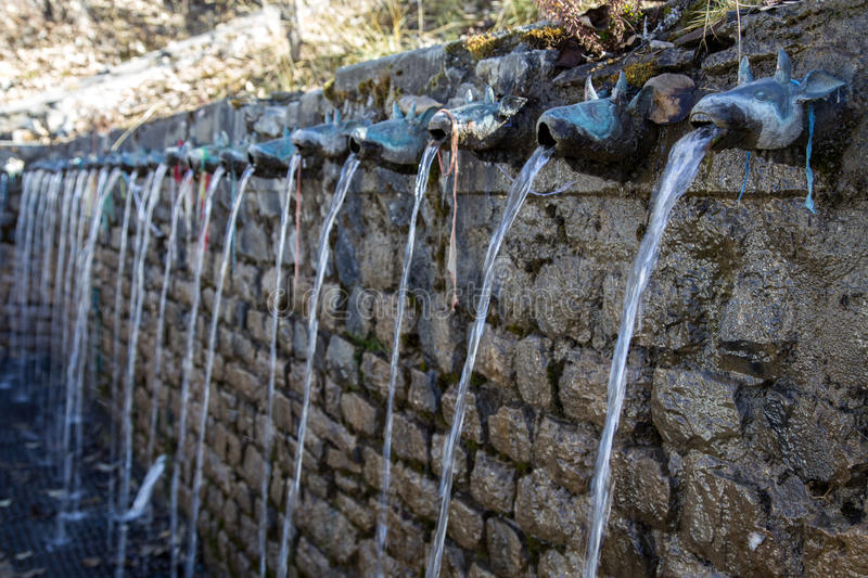 Wall Fountain at Muktinath Temple. Wall Fountain at sacred Muktinath temple in Annapurna Region in Nepal stock photography
