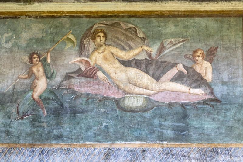 Casa della Venera fresco Pompeii royalty free stock photos