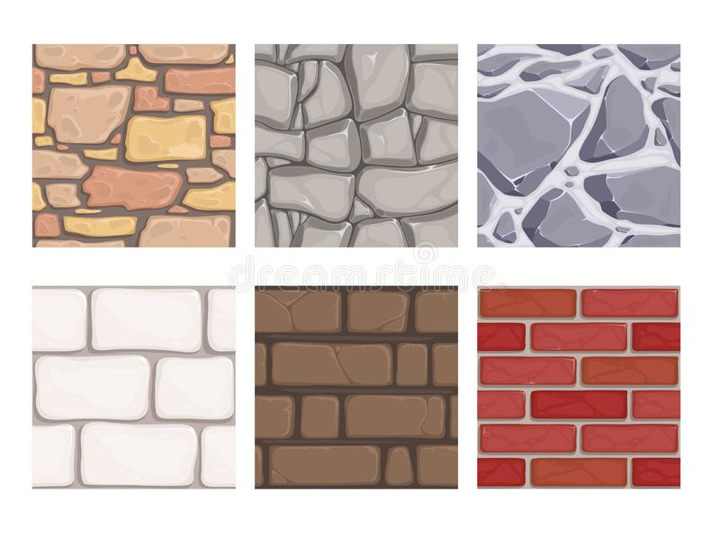 Wall game textures. Seamless rock earth stones ground wallpaper vector patterns vector illustration