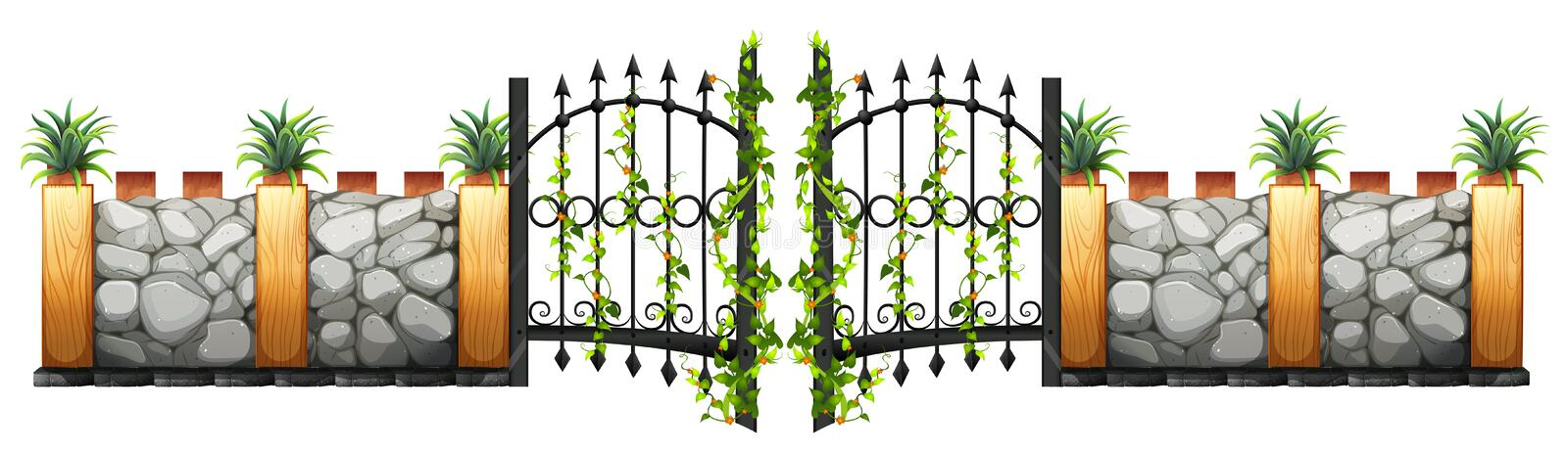 Wall and gate design royalty free illustration