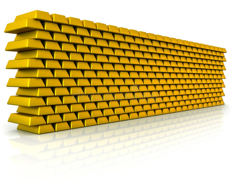 Download Wall of gold bullion stock illustration. Image of isolated - 23628888