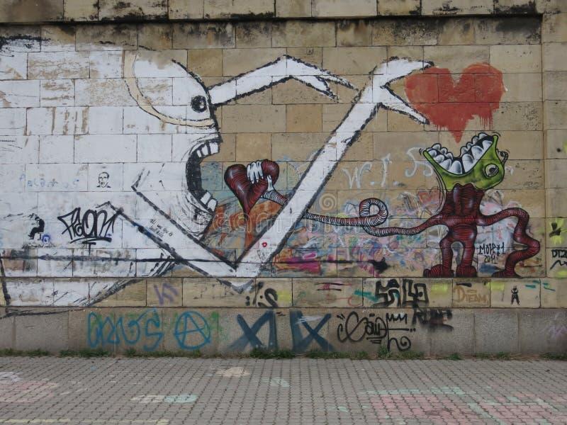Wall of graffiti royalty free stock photography