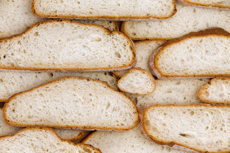 Wall of home made bread slices stock image