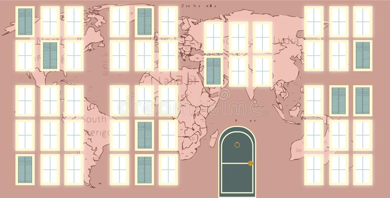 Wall of a house with murals of the world map. royalty free illustration