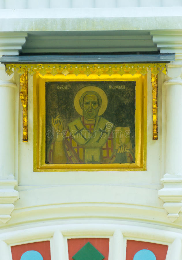 Wall icon in the architecture of the Shipka Monastery stock photography