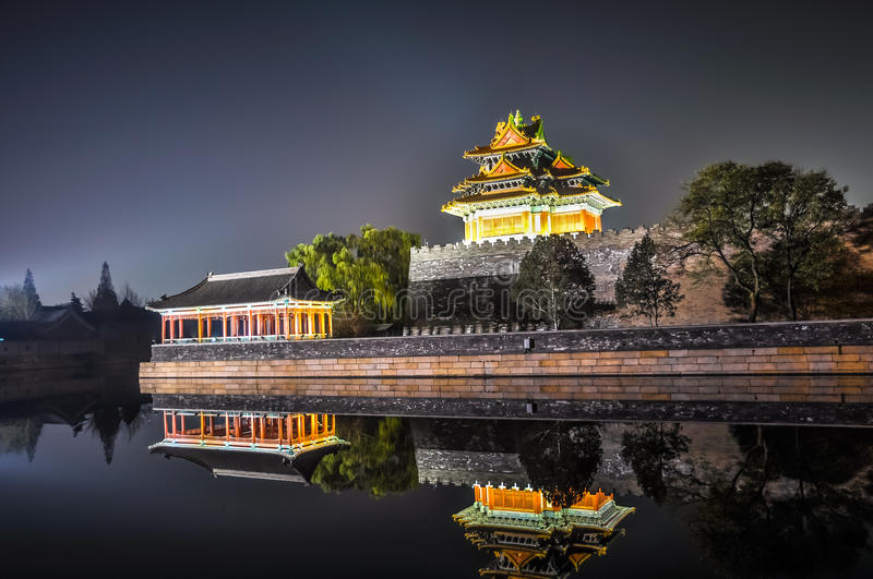 Wall Imperial Palace, pagoda and pavilion with reflection in the canal stock images