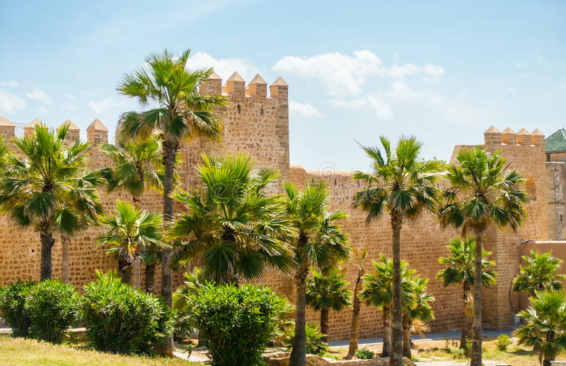 Wall of the Kasbah of Udayas, Rabat, Morocco. The protective wall of the Kasbah of Udayas in Rabat, Morocco, Africa royalty free stock images