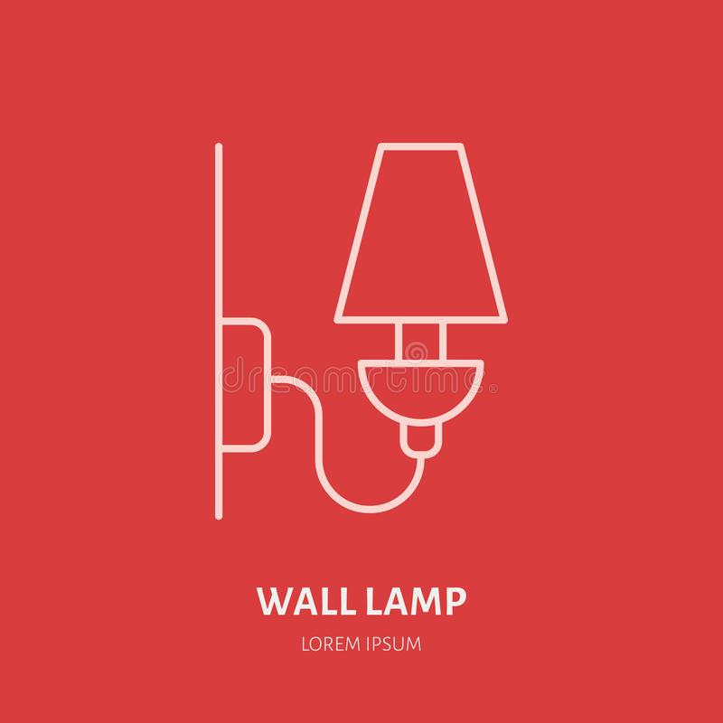 Wall lamp flat line icon. Vector logo for interior store or electrical service. Linear illustration of home illumination royalty free illustration