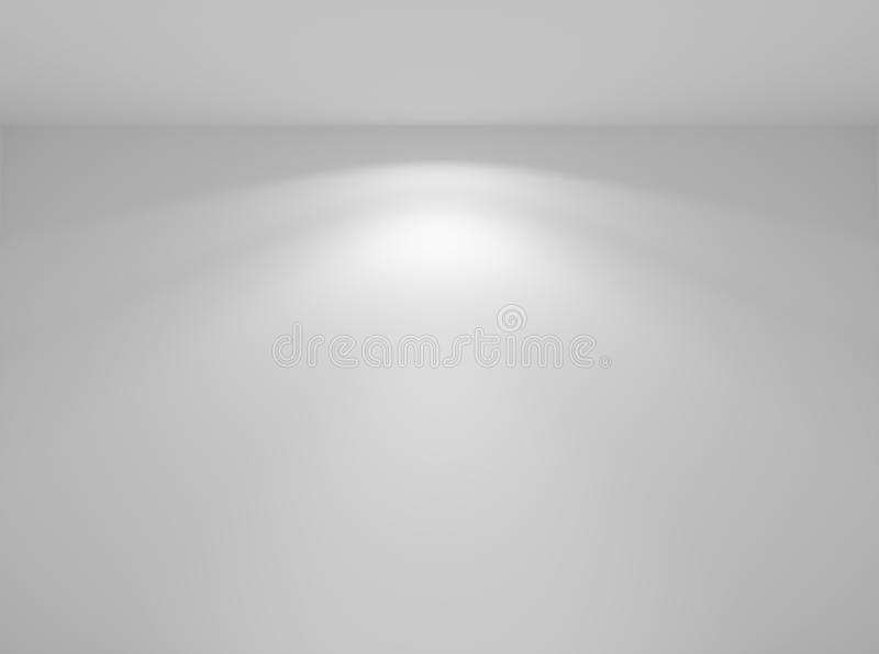 Wall lamp light on wall in empty white room. Wall lamp light on the white wall in abstract empty white room closeup, colorless 3d illustration stock illustration