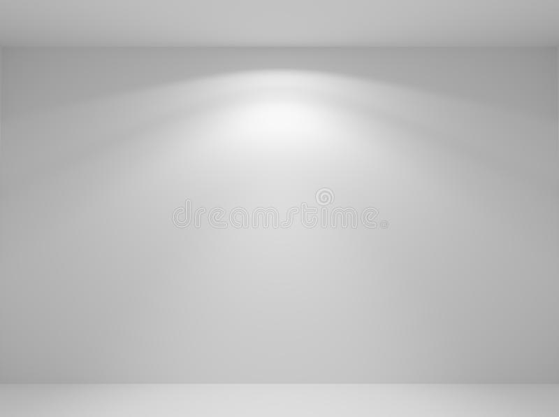 Wall lamp light in white empty room closeup. Wall lamp light on the white wall in abstract empty white room with wall, floor and ceiling without any textures royalty free illustration