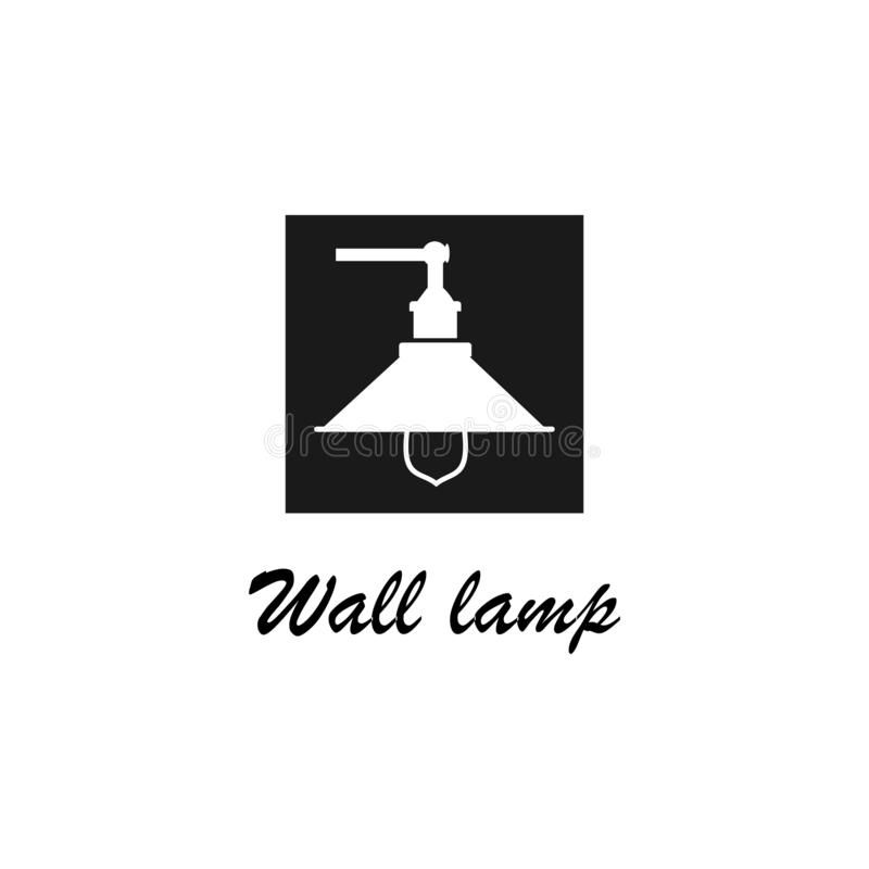 Wall lamp logo template, design vector icon illustration. Bulb, light, idea, lightbulb, symbol, creative, innovation, concept, isolated, electricity, business royalty free illustration