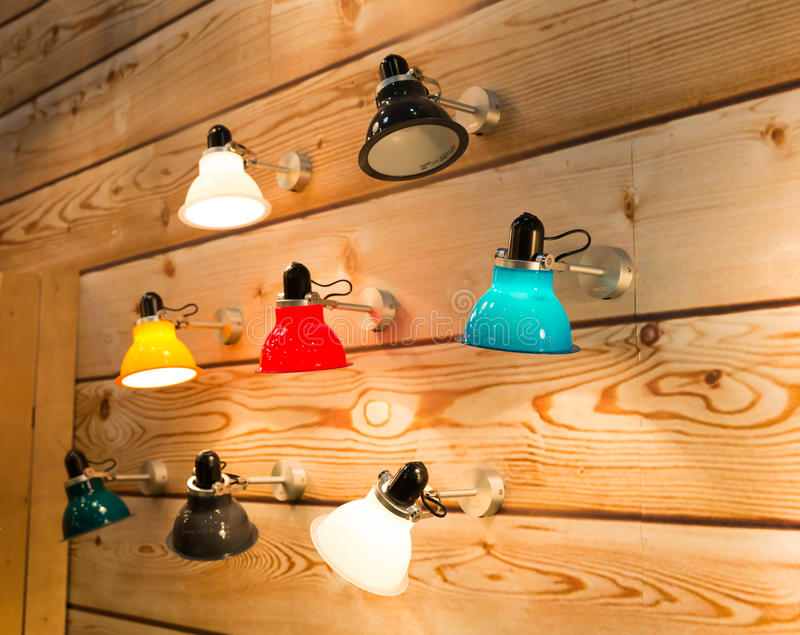 Wall lamps stock images