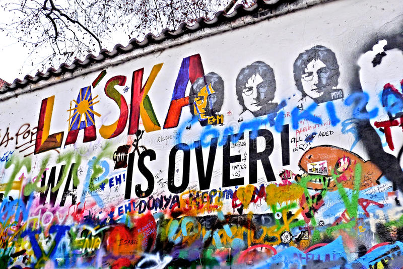 The Wall of Lennon in Prague. The Wall of Lennon is a wall that is located in Prague, the capital of the Czech Republic, originally it was a simple wall of the royalty free stock images