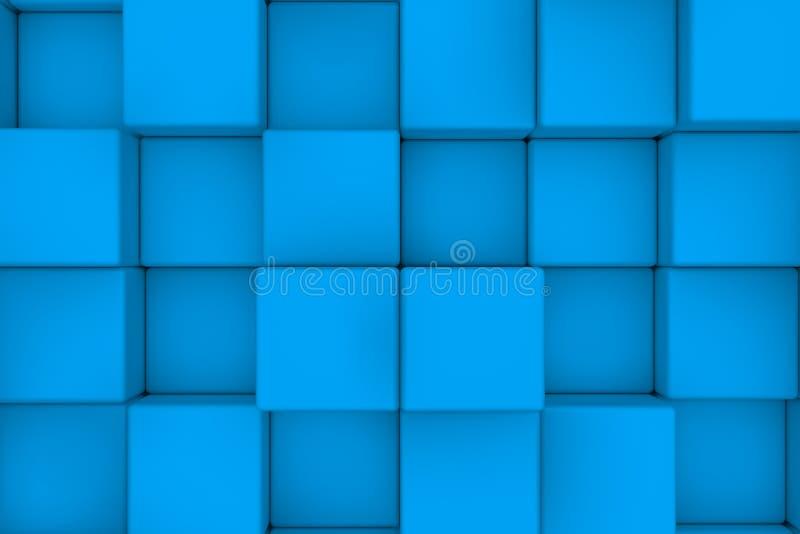 Wall of light blue cubes stock illustration