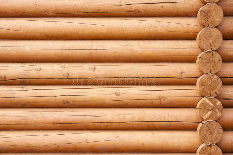 Wall from logs stock photo
