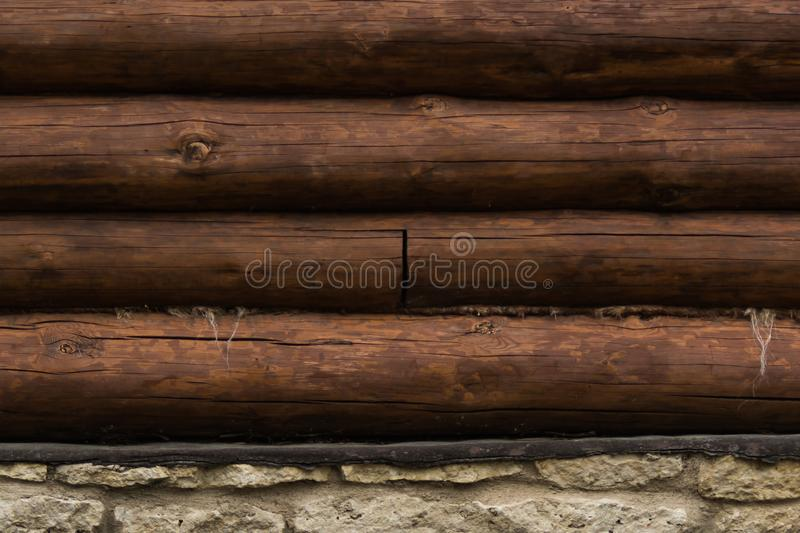 Wall of logs. wooden background. rural house exterior. Wall of logs. wood background. rural house exterior, texture, wooden, construction, timber, tree, building stock photo