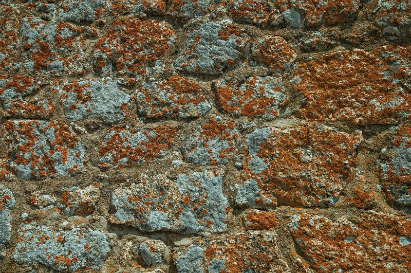 Wall made of stones forming a singular background in Monsanto royalty free stock images