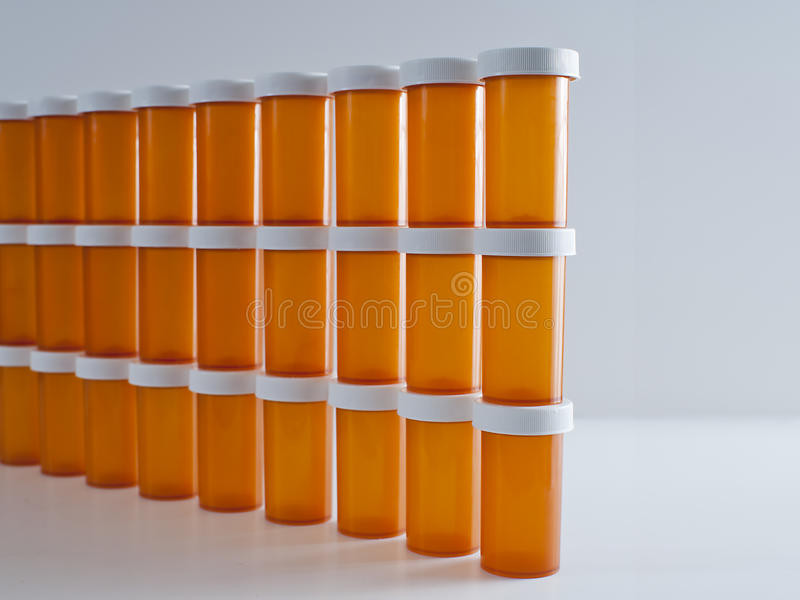 Wall of Medicine Bottles stock images