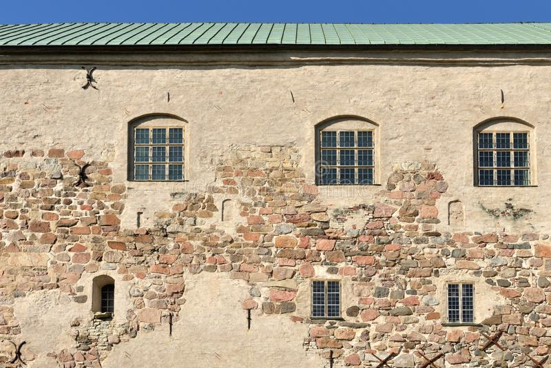 Wall of medieval Turku Castle Turun linna in Finland royalty free stock photos