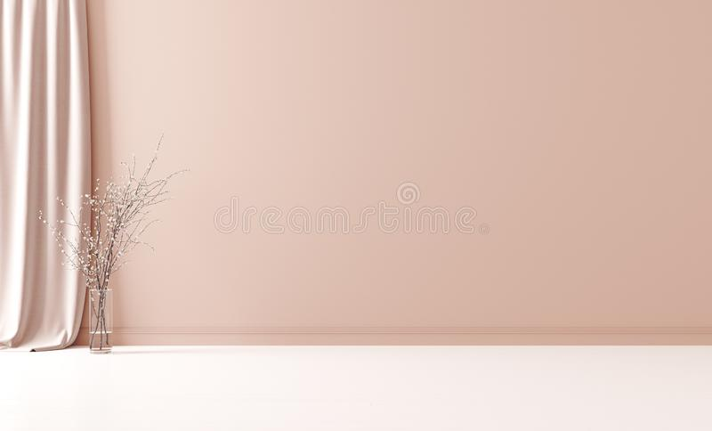 Wall mock up in empty interior background, room with pastel peach color wall stock photography