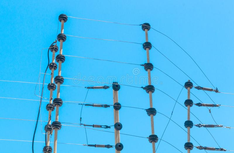Wall Mounted High Voltage Electric Security Fence Instalation stock photography