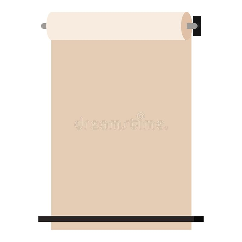 Wall mounted kraft paper roll up dispenser isolated on white background, Vector show display mockup banner flat cartoon style, vector illustration