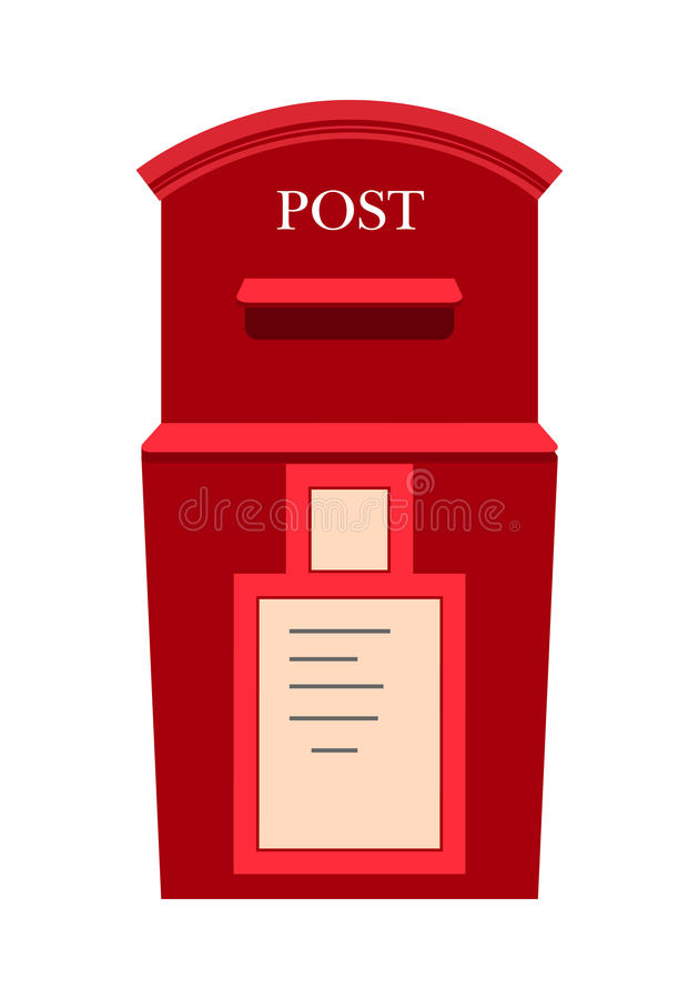 Red Classic Mailbox With Mail Stock Illustration