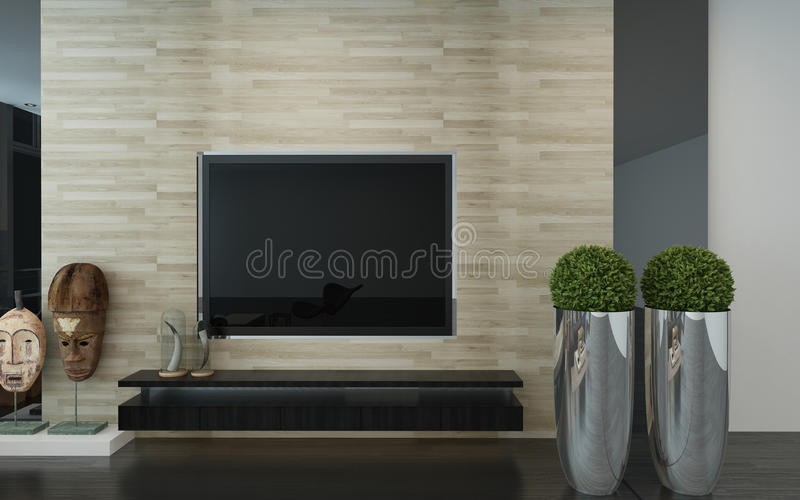 Wall mounted TV in a modern living room. Interior with topiary potted trees, African masks and a feature textured wall in an architectural background, 3d render stock illustration