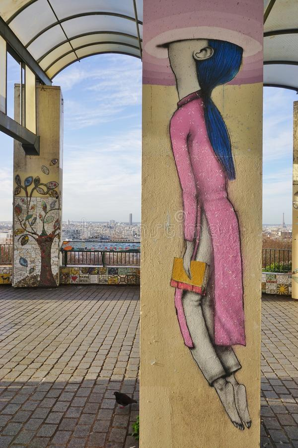 Wall mural paintings by famous French street artist Seth Globepainter (Julien Malland) at the Parc de Belleville in Paris. PARIS, FRANCE -Wall mural paintings by royalty free stock photo