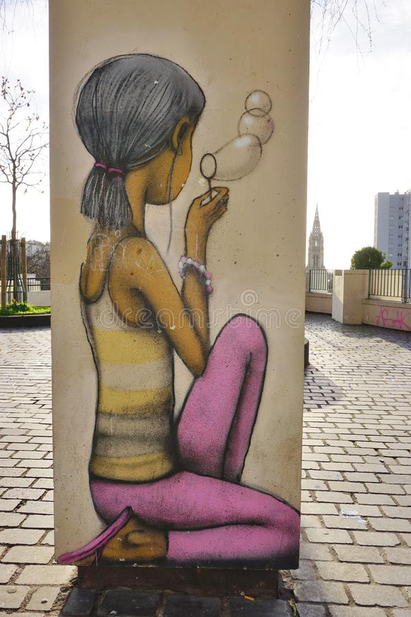 Wall mural paintings by famous French street artist Seth Globepainter (Julien Malland) at the Parc de Belleville in Paris. PARIS, FRANCE -Wall mural paintings by royalty free stock image