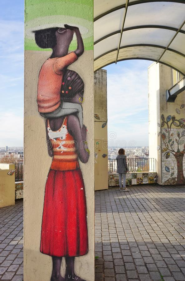 Wall mural paintings by famous French street artist Seth Globepainter (Julien Malland) at the Parc de Belleville in Paris. PARIS, FRANCE -Wall mural paintings by royalty free stock photography