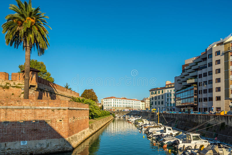 Wall of New Fortress in Livorno. LIVORNO, ITALY - SEPTEMBER 14, 2014 - Wall of New Fortress in Livorno. New fortress was built at the end of the 17th century royalty free stock photography