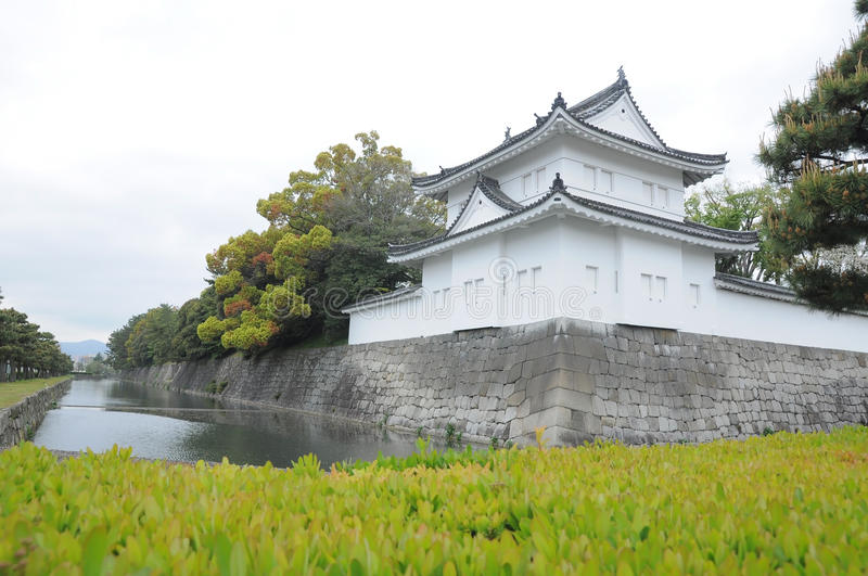 Wall of Nijo castle and clear ditch stock photos